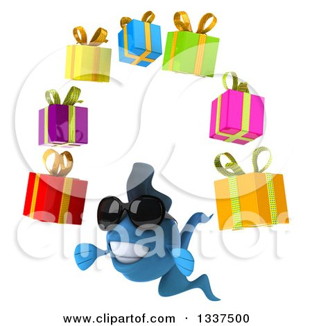 Clipart of a 3d Blue Fish Wearing Sunglasses, Facing Slightly Left and Juggling Gifts - Royalty Free Illustration by Julos