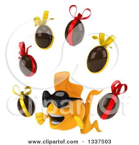 Clipart of a 3d Happy Yellow Fish Wearing Sunglasses, Facing Slightly Left and Juggling Chocolate Easter Eggs - Royalty Free Illustration by Julos