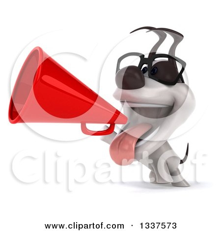 Clipart of a 3d Bespectacled Jack Russell Terrier Dog Announcing to the Left with a Megaphone - Royalty Free Illustration by Julos