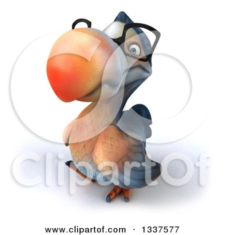 Clipart of a 3d Bespectacled Dodo Bird Looking up and Walking to the Left - Royalty Free Illustration by Julos