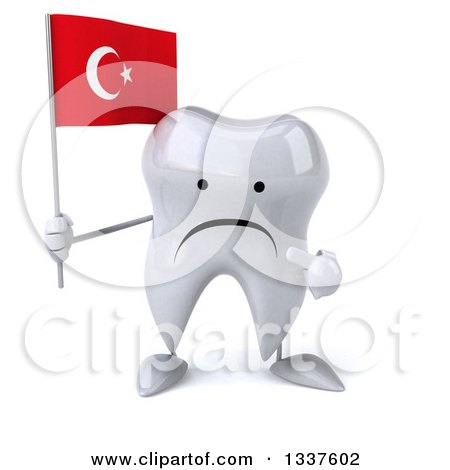 Clipart of a 3d Unhappy Tooth Character Holding and Pointing to a Turkish Flag - Royalty Free Illustration by Julos