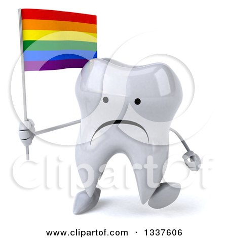 Clipart of a 3d Unhappy Tooth Character Holding a Rainbow Flag and Walking - Royalty Free Illustration by Julos