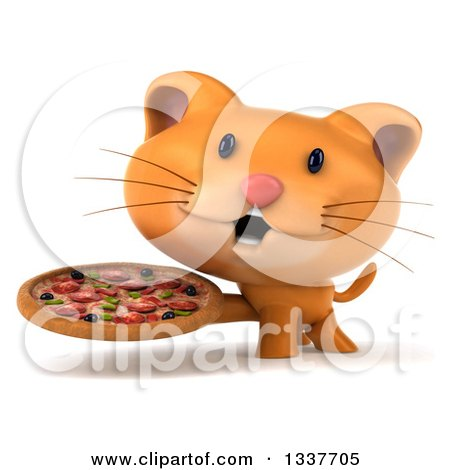 Clipart of a 3d Ginger Cat Holding a Pizza - Royalty Free Illustration by Julos