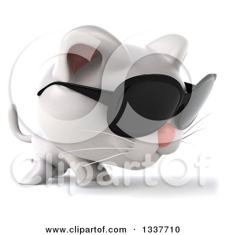 Clipart of a 3d White Kitten Wearing Sunglasses and Walking to the Right - Royalty Free Illustration by Julos