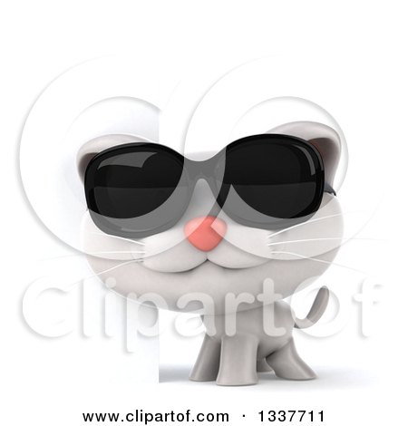 Clipart of a 3d White Kitten Wearing Sunglasses by a Sign - Royalty Free Illustration by Julos