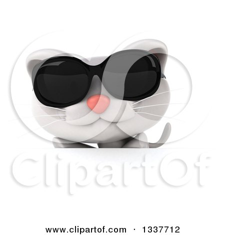 Clipart of a 3d White Kitten Wearing Sunglasses over a Sign - Royalty Free Illustration by Julos