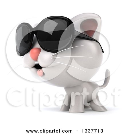 Clipart of a 3d White Kitten Wearing Sunglasses and Facing Left - Royalty Free Illustration by Julos