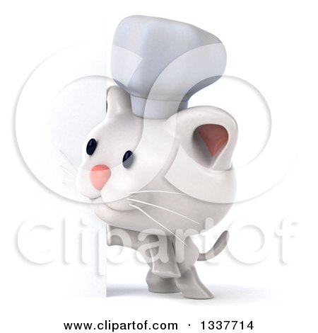 Clipart of a 3d White Chef Kitten Looking Around a Sign - Royalty Free Illustration by Julos