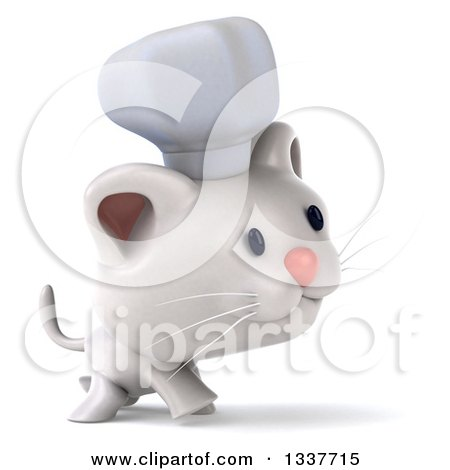 Clipart of a 3d White Chef Kitten Walking to the Right - Royalty Free Illustration by Julos