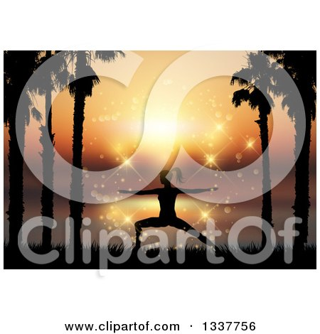 Clipart of a Fit Silhouetted Woman Doing Yoga Between Palm Trees Against a Magical Sunset - Royalty Free Vector Illustration by KJ Pargeter
