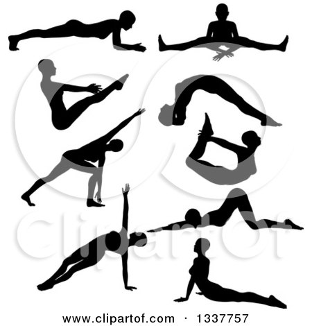 Clipart of Black Silhouetted Women in Yoga Poses - Royalty Free Vector Illustration by KJ Pargeter