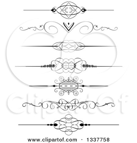 Clipart of Black and White Ornate Rule Page Border Design Elements - Royalty Free Vector Illustration by KJ Pargeter
