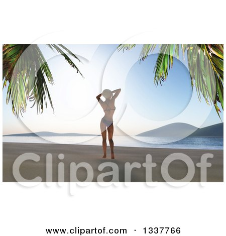 Clipart of a 3d Caucasian Woman in a Bikini, Standing Relaxed on a Tropical Beach at Sunset - Royalty Free Illustration by KJ Pargeter