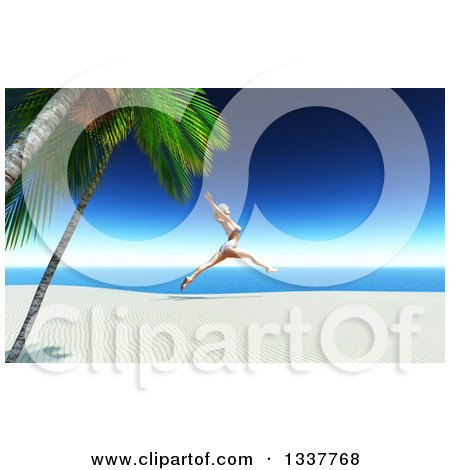 Clipart of a 3d Carefree Happy Caucasian Woman in a Bikini, Leaping on a Tropical Beach - Royalty Free Illustration by KJ Pargeter