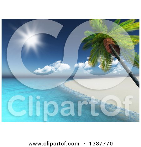 3d White Sand Coastline and Leaning Palm Tree Tropical Beach with the Ocean and Shining Sun Posters, Art Prints