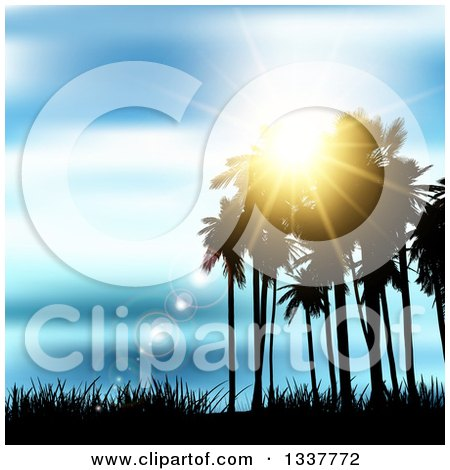 Clipart of a Background of Silhouetted Palm Trees Against a Blue Sunset with Light Flares and Grass - Royalty Free Vector Illustration by KJ Pargeter