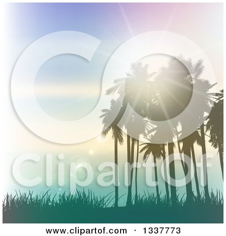 Clipart of a Background of Vintage Lighting Effects with Silhouetted Palm Trees Against a Blue Sunset with Light Flares and Grass - Royalty Free Vector Illustration by KJ Pargeter