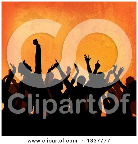 Clipart of a Silhouetted Crowd of People Dancing at a Party, over Orange Grunge - Royalty Free Vector Illustration by KJ Pargeter