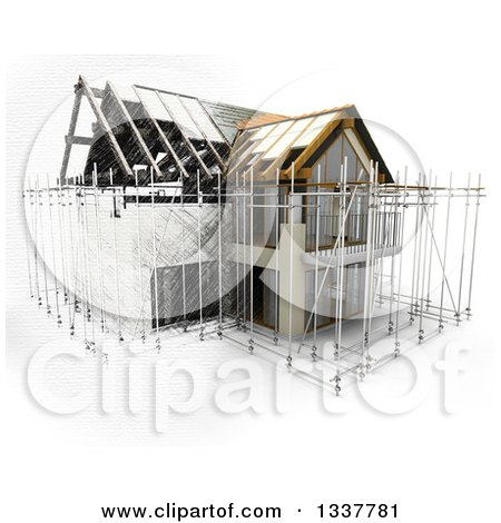 Clipart of a 3d House Under Construction, Surrounded by Scaffolding, Partial Sketch, on White - Royalty Free Illustration by KJ Pargeter