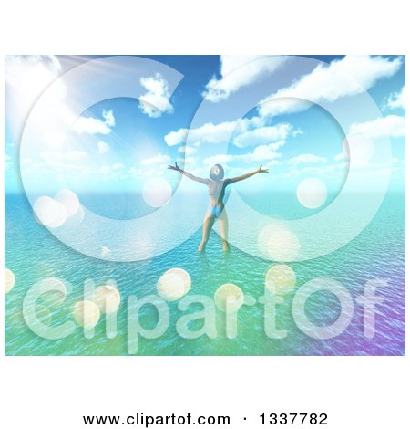 Clipart of a 3d Carefree Happy Caucasian Woman in a Bikini, Wading in Water off of a Tropical Beach and Standing with Arms Open, with Flares - Royalty Free Illustration by KJ Pargeter