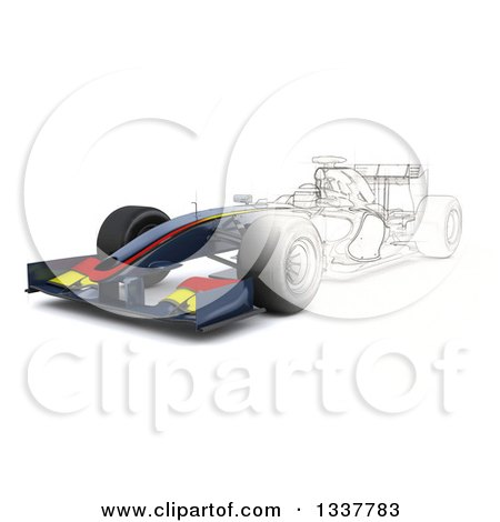 Clipart of a Half Sketch and 3d F1 Race Car - Royalty Free Illustration by KJ Pargeter