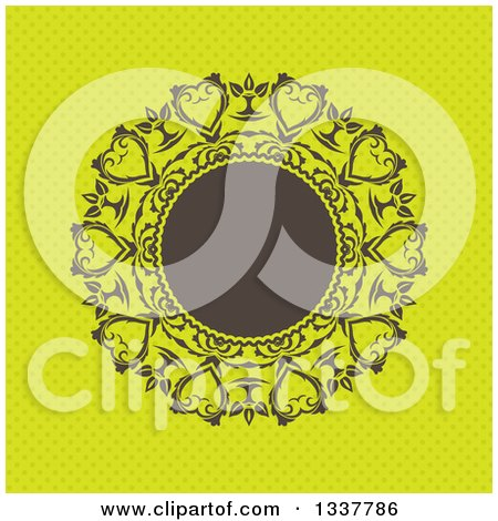 Clipart of a Retro Round Brown Frame with Ornate Floral Hearts over Green Polka Dots - Royalty Free Vector Illustration by KJ Pargeter