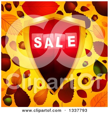 Clipart of a 3d Red and Gold Sale Shield over Autumn Leaves and Orange - Royalty Free Vector Illustration by elaineitalia