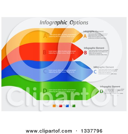 Clipart of Colorful Infographic Curving Arrows with Sample Text on Shaded White - Royalty Free Vector Illustration by elaineitalia