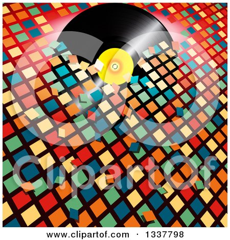 Clipart of a 3d Music Vinyl Record Album Breaking Through Colorful Tiles - Royalty Free Vector Illustration by elaineitalia