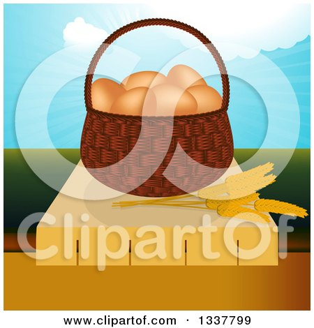 Clipart of a 3d Basket of Brown Eggs and Strands of Wheat on a Table over a Valley and Blue Sky - Royalty Free Vector Illustration by elaineitalia