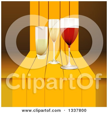 Clipart of a 3d Glasses of Wine and Champagne on a Step - Royalty Free Vector Illustration by elaineitalia
