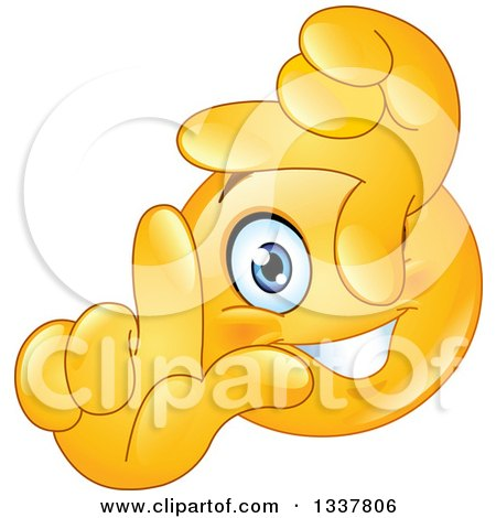Clipart Of A Cartoon Yellow Smiley Face Emoticon Framing A Scene With His Fingers Royalty Free Vector Illustration
