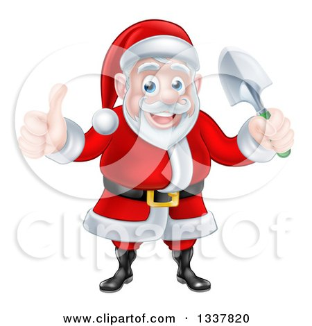 Clipart of a Cartoon Santa Giving a Thumb up and Holding a Garden Trowel 2 - Royalty Free Vector Illustration by AtStockIllustration