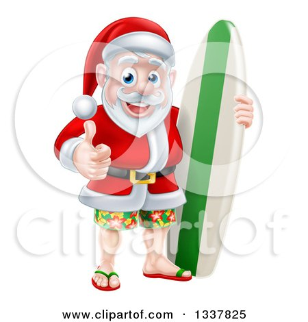 Clipart of a Christmas Santa Claus Giving a Thumb up and Standing with a Green and White Surf Board - Royalty Free Vector Illustration by AtStockIllustration