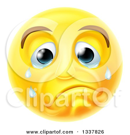 Clipart of a 3d Yellow Smiley Emoji Emoticon Face Crying - Royalty Free Vector Illustration by AtStockIllustration