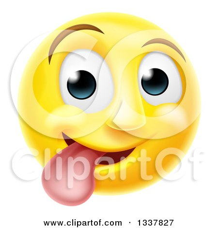 Clipart Of A 3d Silly Yellow Smiley Emoji Emoticon Face Sticking His Tongue Out Royalty Free Vector Illustration