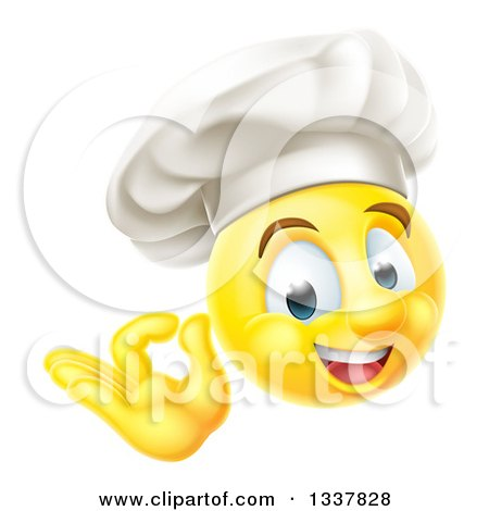 Clipart of a 3d Yellow Smiley Emoji Emoticon Face Chef Gesturing Ok - Royalty Free Vector Illustration by AtStockIllustration