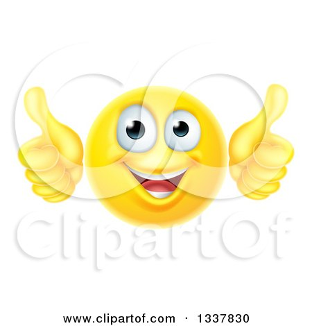 Clipart Of A 3d Happy Yellow Smiley Emoji Emoticon Face Giving Two Thumbs Up Royalty Free Vector Illustration