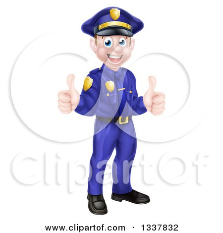 Clipart Of A Cartoon Happy Caucasian Male Police Officer Giving Two Thumbs Up Royalty Free Vector Illustration