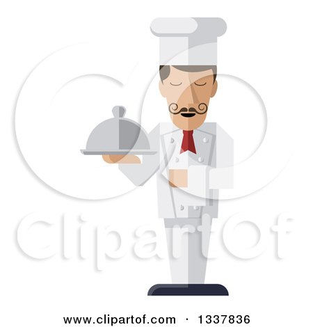 Clipart of a Stylized Male Chef with a Curling Mustache, Standing with a Napkin Draped over His Arm and a Cloche Platter in Hand - Royalty Free Vector Illustration by AtStockIllustration