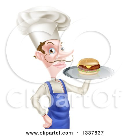 Clipart of a Snooty White Male Chef with a Curling Mustache, Holding a Gourmet Cheeseburger on a Tray - Royalty Free Vector Illustration by AtStockIllustration