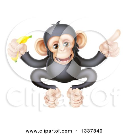 Clipart of a Cartoon Black and Tan Happy Baby Chimpanzee Monkey Holding a Banana and Pointing - Royalty Free Vector Illustration by AtStockIllustration