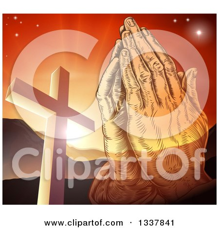 Clipart of a Engraved Praying Hands over a Christian Cross, Orange Sunset and Mountains - Royalty Free Vector Illustration by AtStockIllustration