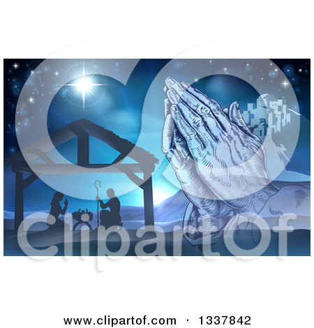 Clipart of a Engraved Praying Hands over a Silhouetted Christmas Nativity Scene at the Manger with the Star of Bethlehem and City in Blue Tones - Royalty Free Vector Illustration by AtStockIllustration