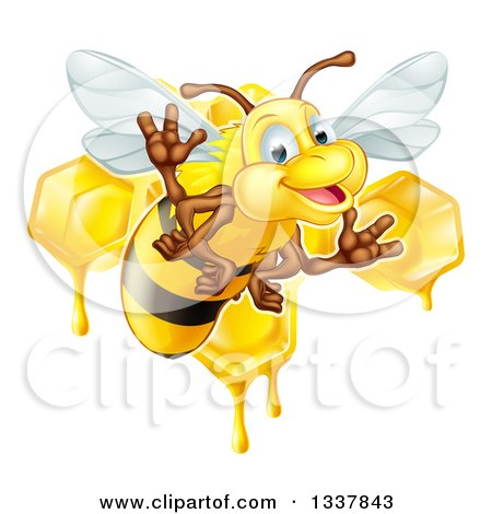 Clipart of a Cartoon Happy Bee Flying Against Dripping Honeycombs - Royalty Free Vector Illustration by AtStockIllustration