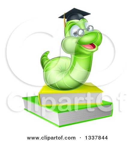 Clipart of a Happy Green Professor or Graduate Earthworm on Books - Royalty Free Vector Illustration by AtStockIllustration