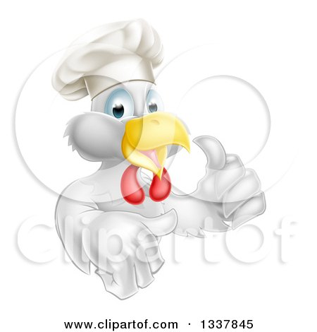 Clipart of a Cartoon Happy White Chef Chicken Giving a Thumb up - Royalty Free Vector Illustration by AtStockIllustration