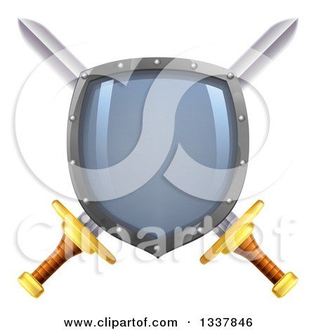 Clipart of a Shiny Shield over Crossed Swords - Royalty Free Vector Illustration by AtStockIllustration