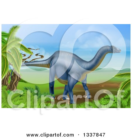 Clipart of a 3d Grayish Blue Diplodocus Dinosaur in a Landscape - Royalty Free Vector Illustration by AtStockIllustration