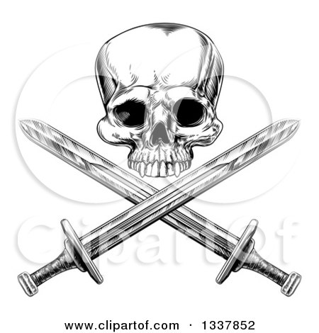 Black and White Engraved Pirate Skull over Cross Swords Posters, Art Prints